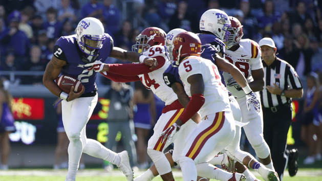 TCU routs Cyclones 55-3 to earn share of Big 12 title